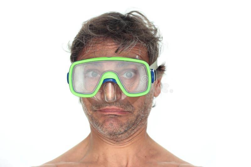 Scuba-duiker in beschermende brillen royalty-vrije stock afbeelding