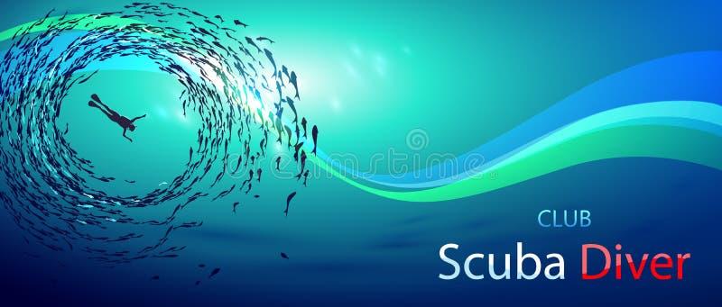 Scuba-duiker Club royalty-vrije illustratie