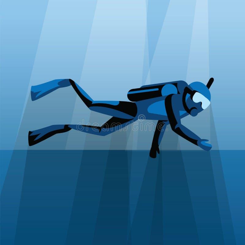 Scuba-duiker die onder water in blauwe overzeese vectorillustratie duiken Duikend in oceaan en overzees, het onderwater zwemmen e vector illustratie