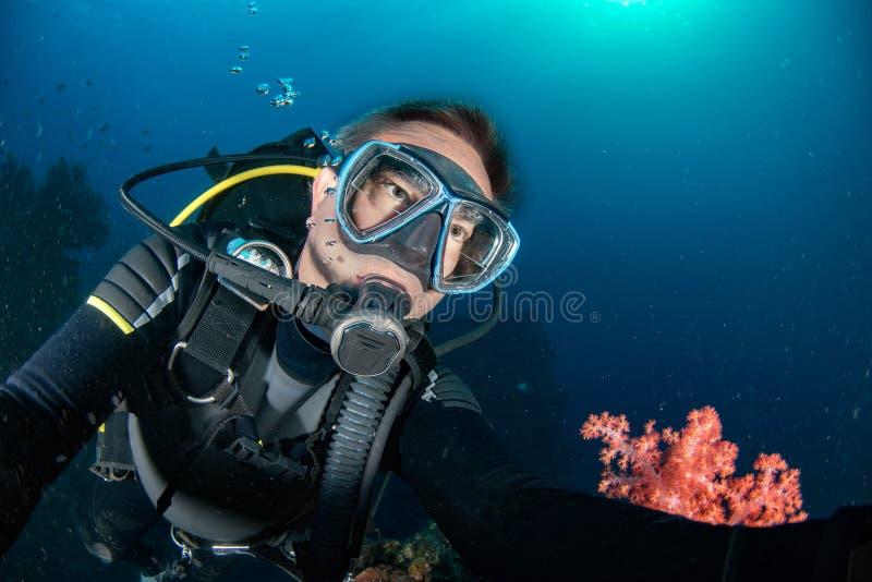 Scuba-duiker onderwaterportret in de oceaan royalty-vrije stock foto