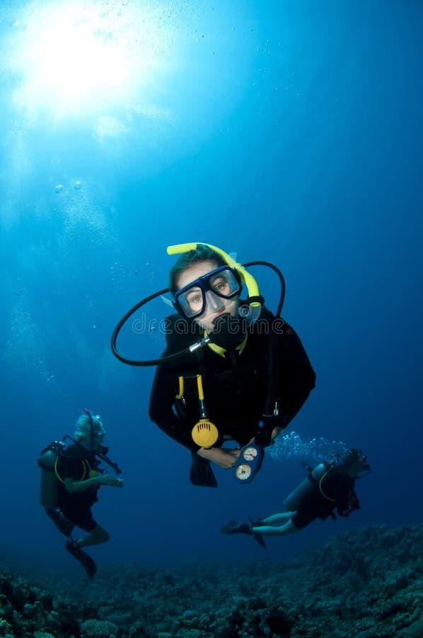 Scuba-duikers onderwater stock foto's