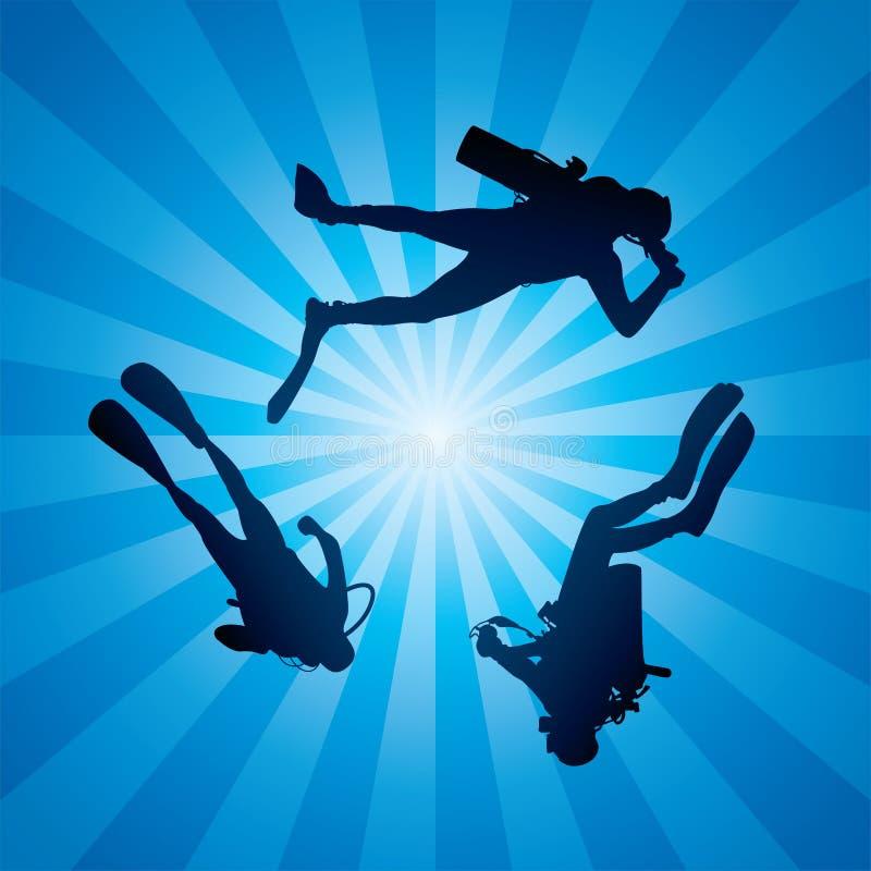 Scuba-duikers onderwater vector illustratie