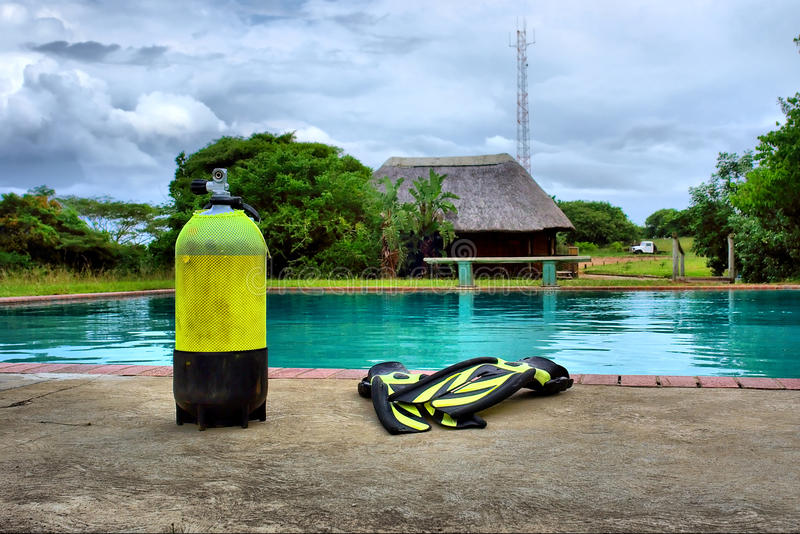 Download Scuba Gear Next To Outdoor Training Pool Stock Photo - Image: 29715842