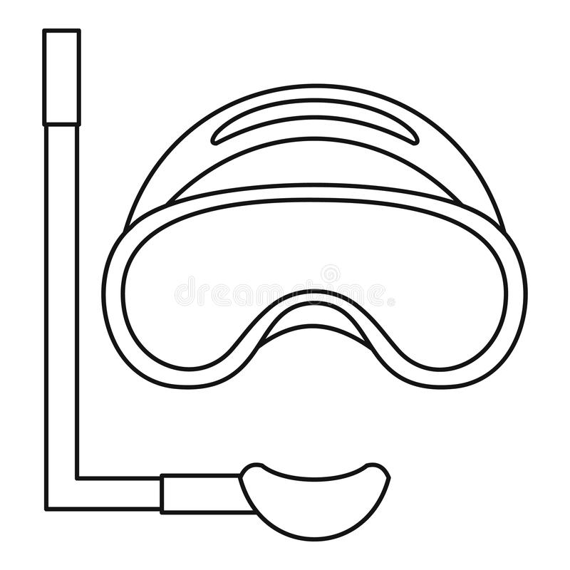 scuba mask and snorkel icon outline style stock vector