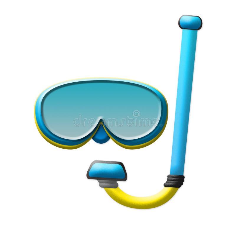 Scuba-uitrustingsmasker, Snorkelend die Materiaal op Witte Achtergrond wordt geïsoleerd vector illustratie