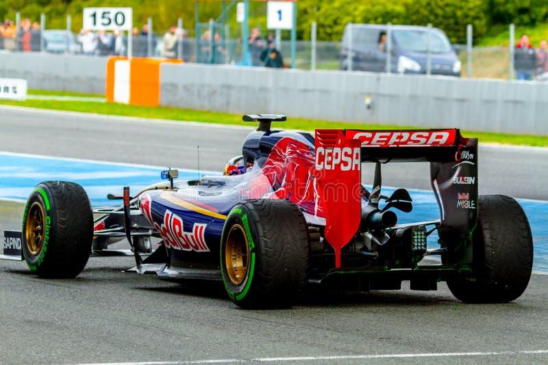 Scuderia Toro Rosso F1 lag, Carlos Sainz, 2015 royaltyfria foton