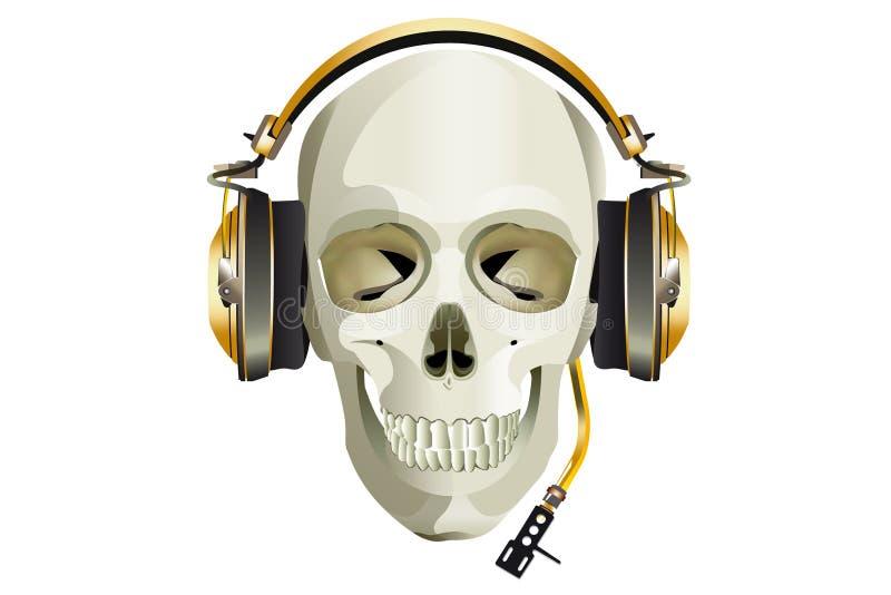 Scull DJ com fones de ouvido imagens de stock