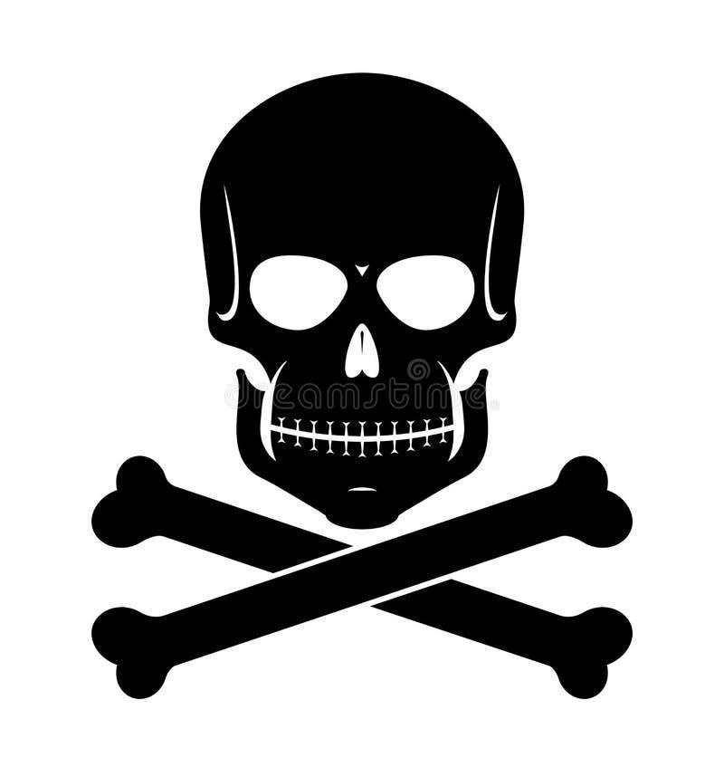 Scull i kości czerń na bielu royalty ilustracja