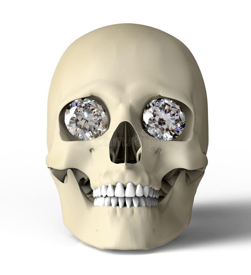 Scull mit den Diamantaugen lokalisiert auf Weiß mit Beschneidungspfad stock abbildung