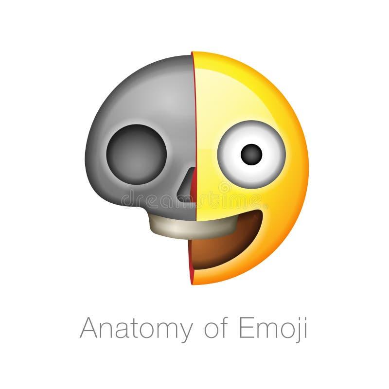Half Skull Emoticon, Emoji - Vector Illustration Stock