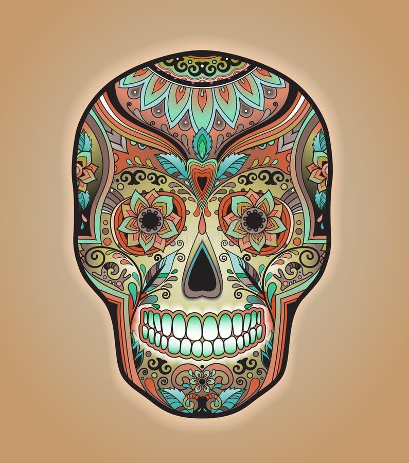 Scull tradicional mexicano da cópia para o t-shirt ilustração do vetor