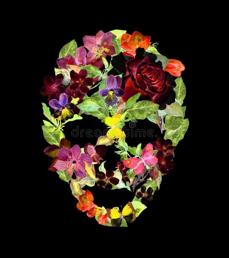 Scull z kwiatami dla Halloween akwarela fotografia royalty free