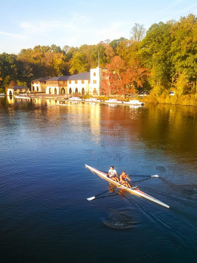 Scullers ply the Delaware and Raritan Canal in Priceton. Double scull at Princeton stock photo