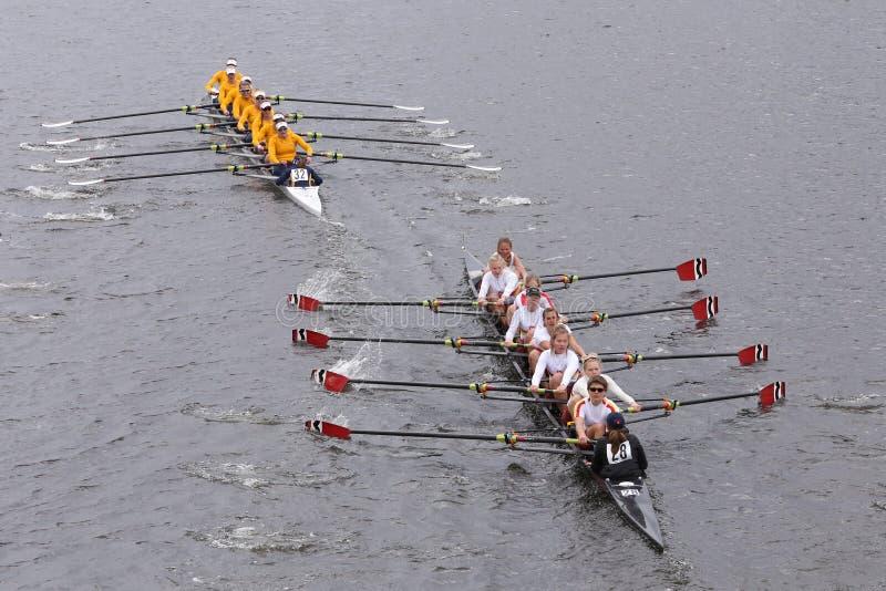 Scullers Tideway (нижняя) Калифорния (верхняя) участвуют в гонке в голове Eights женщин регаты Чарльза мастерского стоковое фото rf