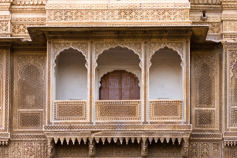 Sculpted balcony. Sculpted pavilion-style balcony of the Rajmahal palace - Jaisalmer, Rajasthan, India royalty free stock photos