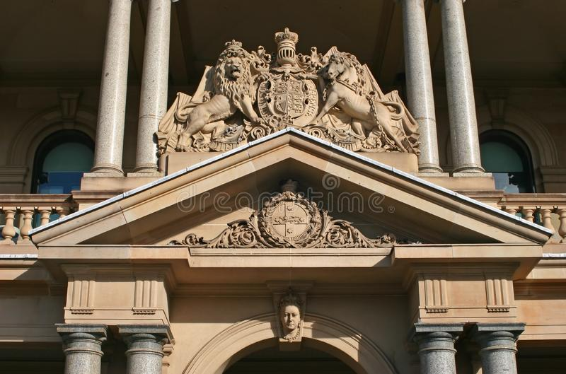 Sculpted and ornate entry portal pediment on historic Custom House, Circular Quay, Sydney CBD, NSW, Australia royalty free stock images