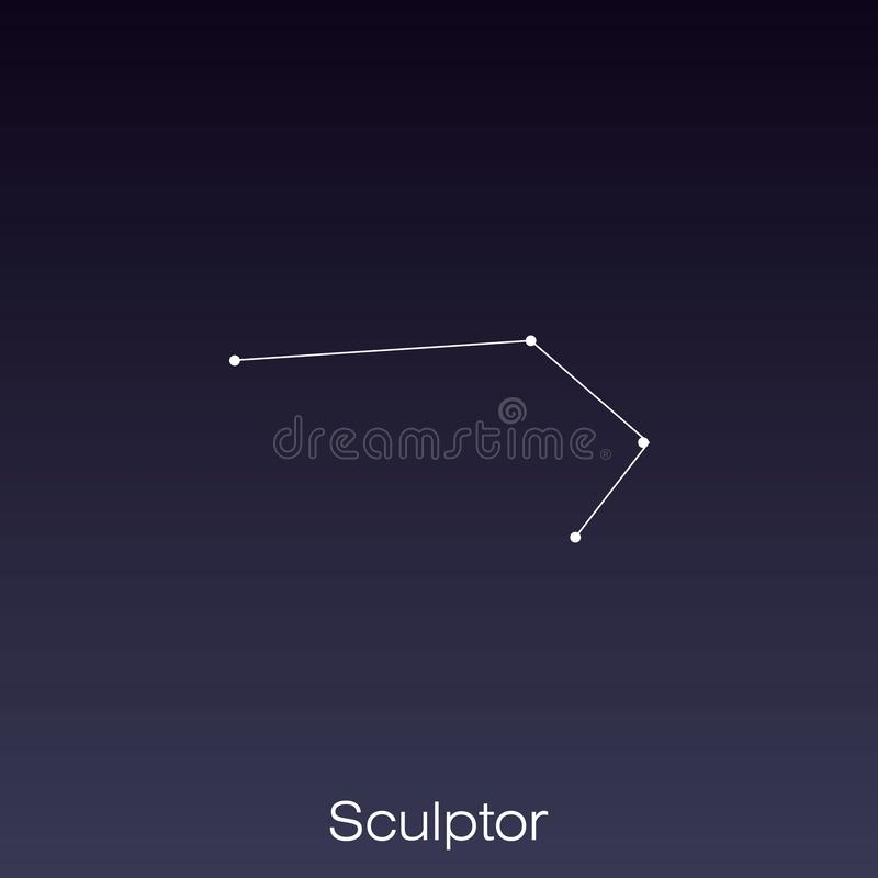 Constellation as it can be seen by the naked eye. Sculptor constellation as it can be seen by the naked eye vector illustration