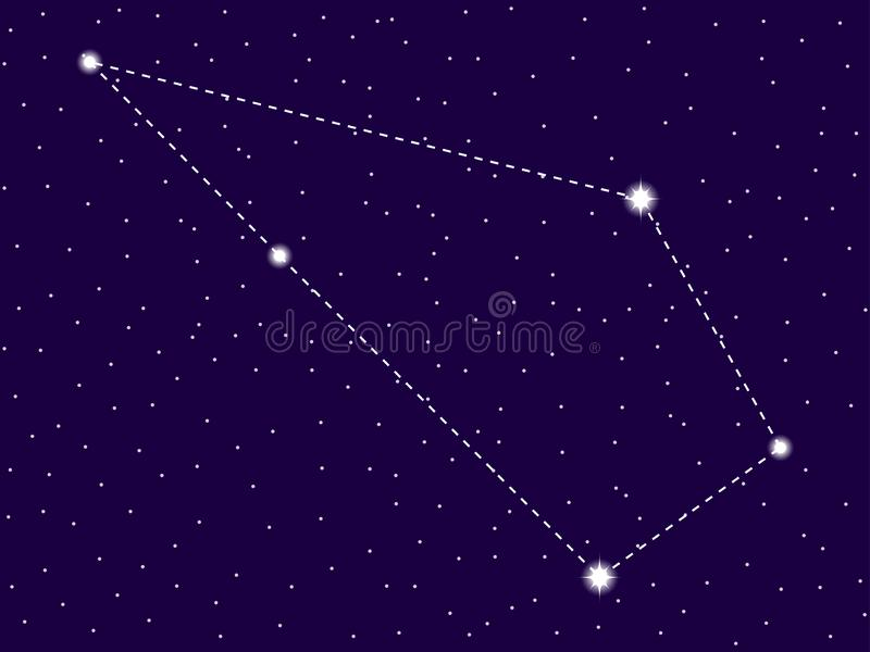 Sculptor constellation. Starry night sky. Zodiac sign. Cluster of stars and galaxies. Deep space. Vector. Illustration stock illustration