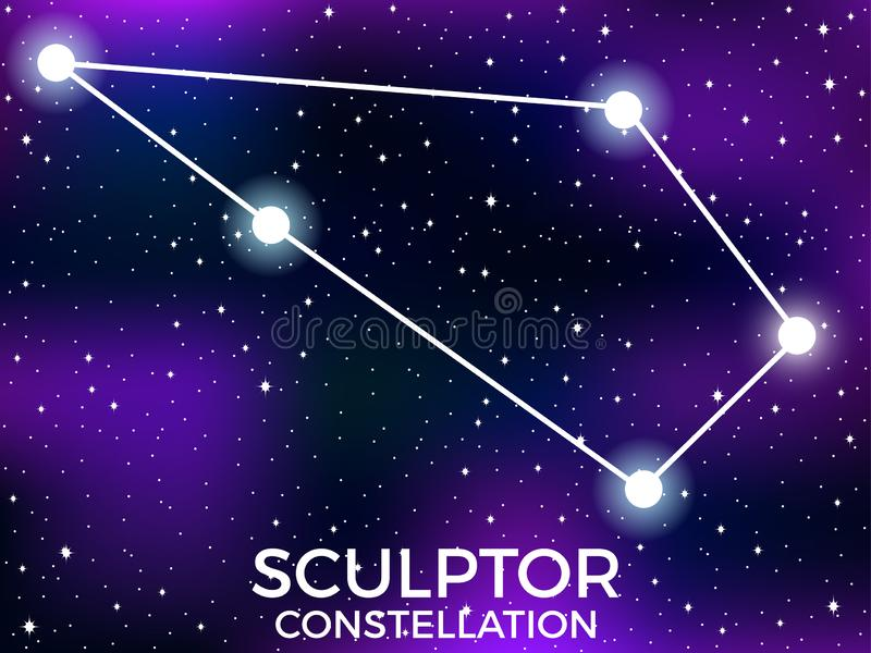 Sculptor constellation. Starry night sky. Zodiac sign. Cluster of stars and galaxies. Deep space. Vector. Illustration vector illustration