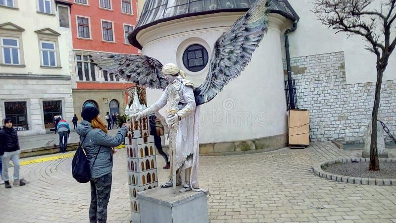 Sculptura di ANGEL Live fotografie stock libere da diritti