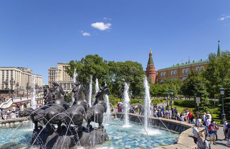 Sculptural composition The Four seasons fountain in Alexandrovsky garden near the Kremlin. Moscow, Russia. Day stock image