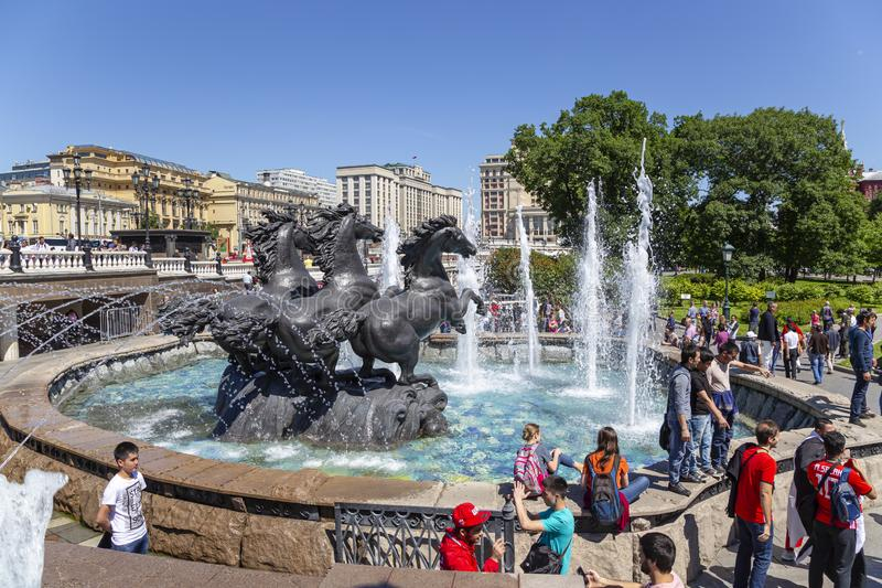 Sculptural composition The Four seasons fountain in Alexandrovsky garden near the Kremlin. Moscow, Russia. Day royalty free stock image