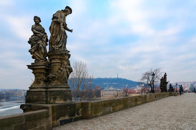 Sculptural compositions of Charles Bridge, Prague, Czech Republic. Saint Ivo, church judge of Franciscan Order. Patron of widows, orphans and poor 1711 stock images