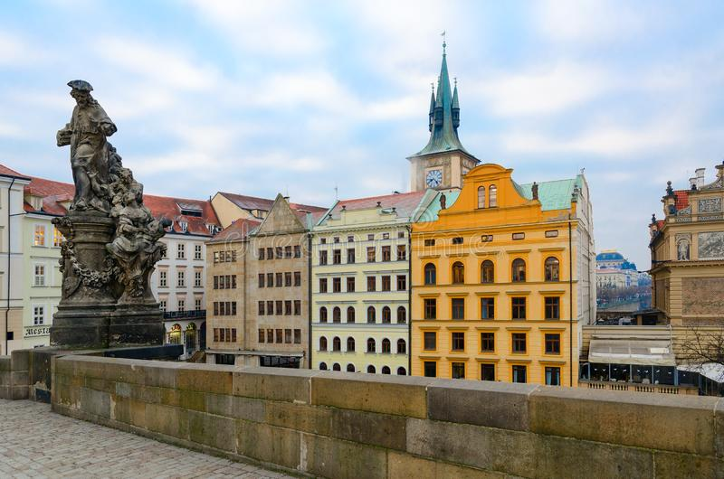 Sculptural compositions of Charles Bridge, Prague, Czech Republic. Saint Ivo, church judge of Franciscan Order. Patron of widows, orphans and poor 1711 stock photo