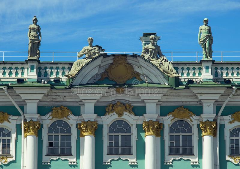 The sculptural decoration of the Hermitage stock photo