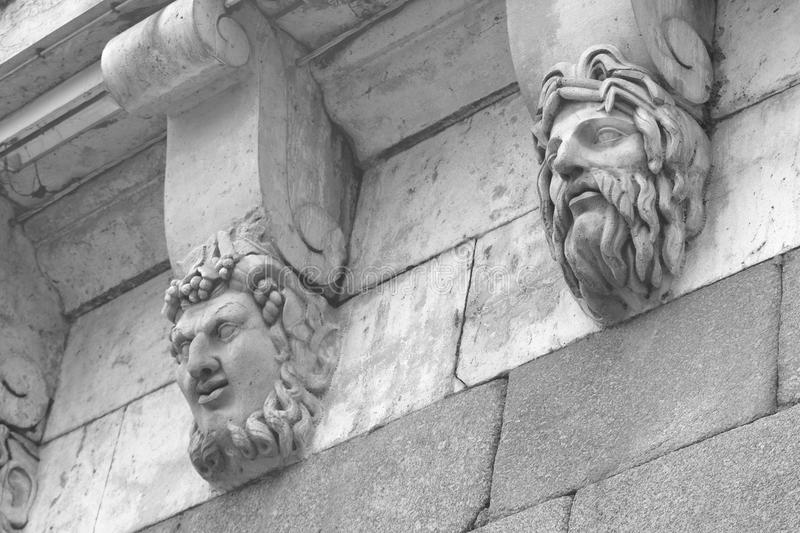 Sculptural detail of old building, Paris. Sculptural detail of old building, Paris, France. Black and white royalty free stock photos