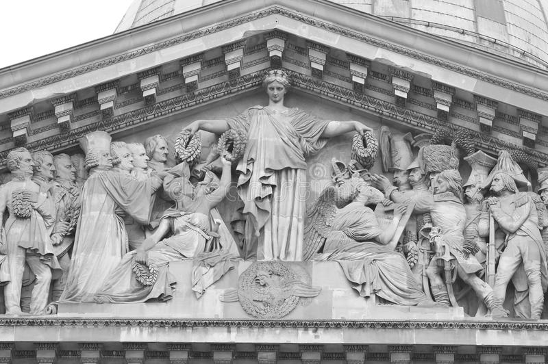 Sculptural detail of Pantheon in Paris. Sculptural detail of Pantheon in Latin Quarter in Paris, France. Black and white stock photo