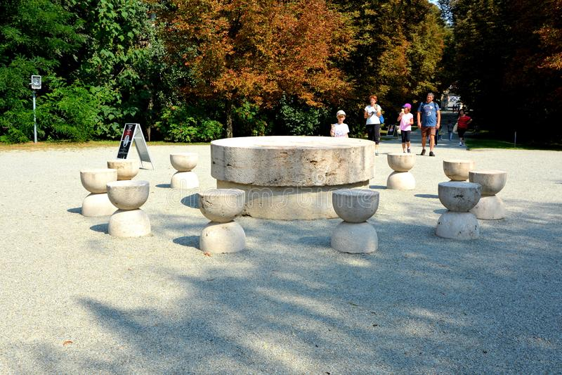 The Table of Silence.The Sculptural Ensemble of Constantin Brâncuși at Târgu Jiu. The Sculptural Ensemble of Constantin Brâncuși at Târgu Jiu stock photography
