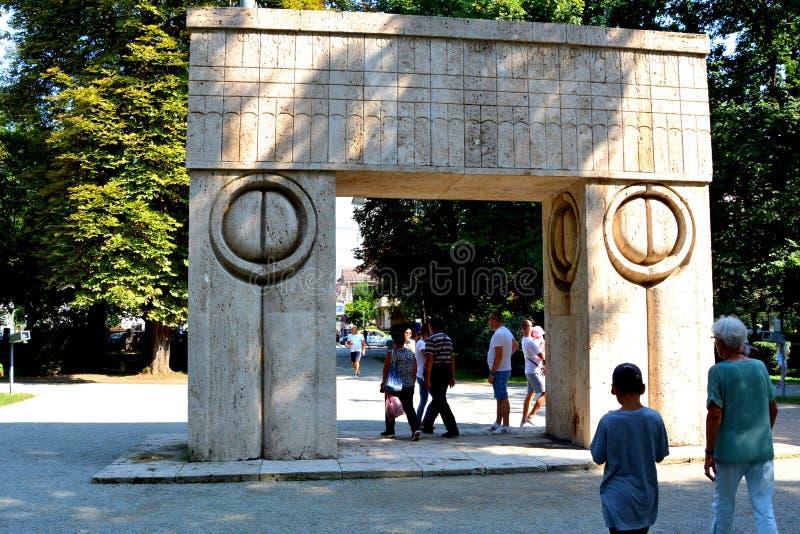 The Gate of the Kiss. The Sculptural Ensemble of Constantin Brâncuși at Târgu Jiu. The Sculptural Ensemble of Constantin Brâncuși at Târgu royalty free stock image