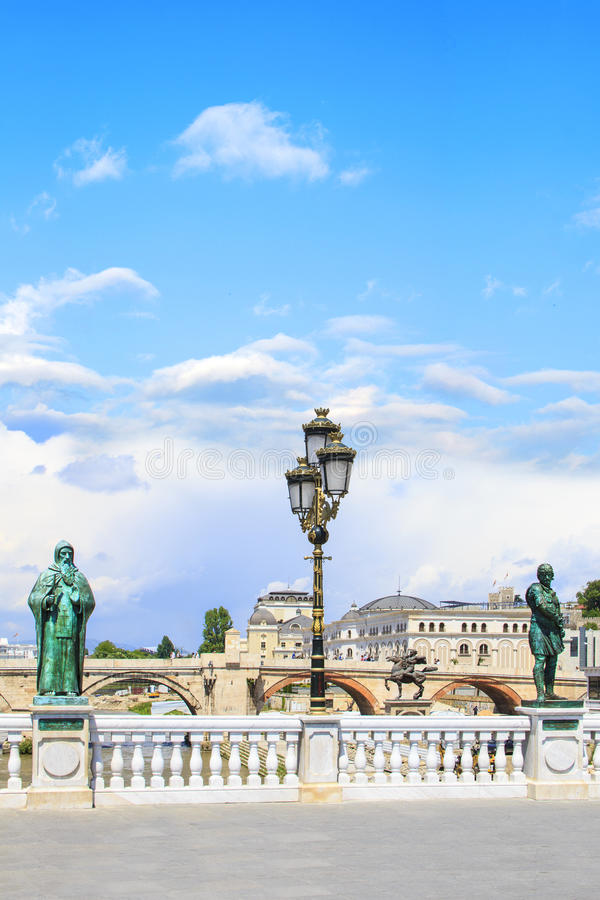 Sculptural ensemble near the Skopje Archaeological Museum overlooking the Stone Bridge, Macedonia. On a sunny day royalty free stock photo
