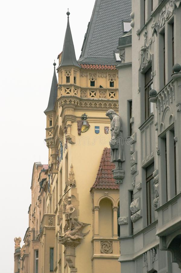 Sculptural facades of houses in Prague royalty free stock images