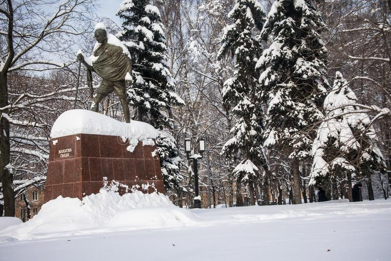 The monument of the famous Indian political and spiritual leader Mahatma Gandhi in Moscow, Russia. stock photography