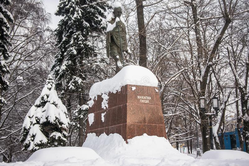 The monument of the famous Indian political and spiritual leader Mahatma Gandhi in Moscow, Russia. stock image