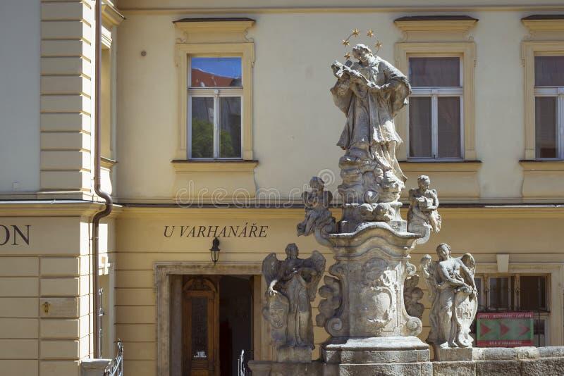 Sculptural group with the angels before Vila U Varhanare about Jezujit kolej royalty free stock photos
