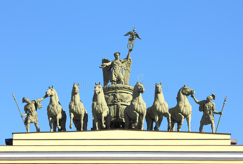 Sculptural Group On Arch Of General Staff In St. Petersburg Stock Photo