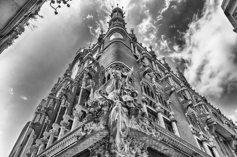Sculptures of Palau de la Musica Catalana, Barcelona, Catalonia, Spain. Sculptural group on the corner of the Palau de la Musica Catalana, modernist Concert Hall royalty free stock photos