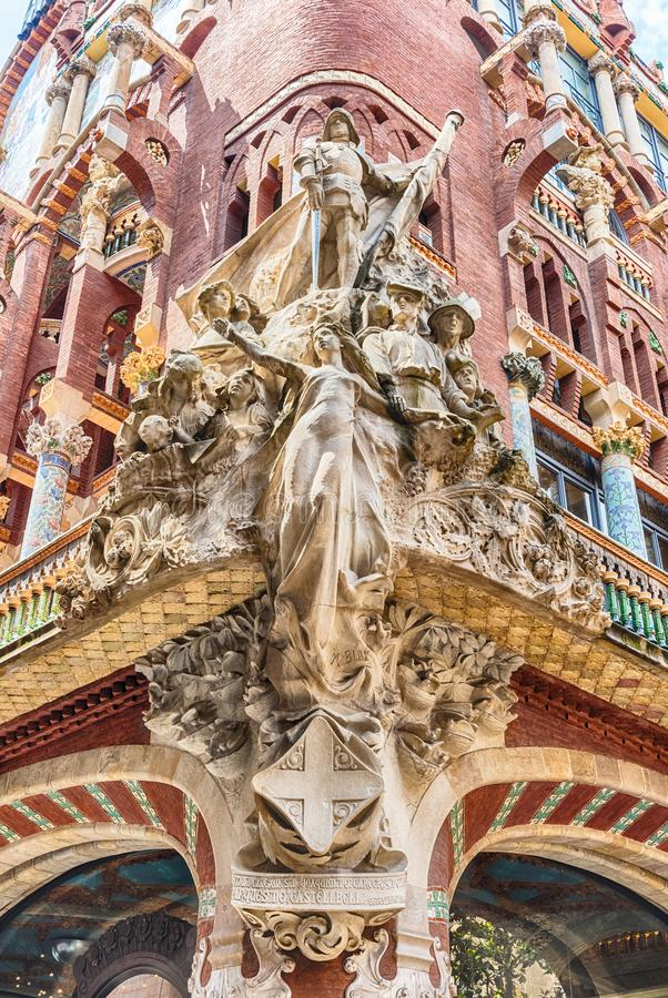 Sculptures of Palau de la Musica Catalana, Barcelona, Catalonia, Spain. Sculptural group on the corner of the Palau de la Musica Catalana, modernist Concert Hall royalty free stock image