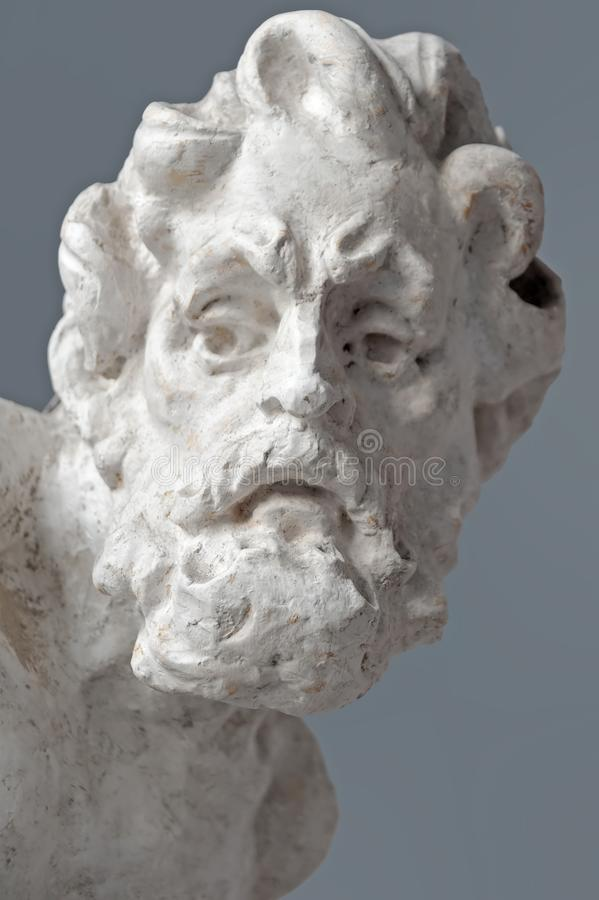 The sculptural head from the Town Hall in Buchach, Ukraine. The sculptural head from the Town Hall been restored in Buchach, Ukraine royalty free stock photos