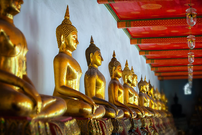 Sculptural images of Buddha in the old temple. Bangkok, Thailand.  royalty free stock image