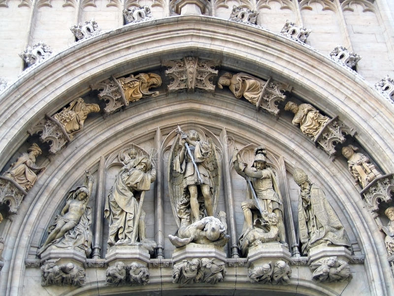 Sculptural ornaments. On the facade of a Gothic building in Brussels stock image