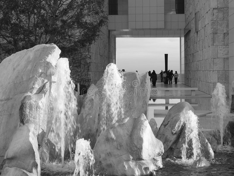 Sculptural Rock and Water Fountain at Museum royalty free stock photos