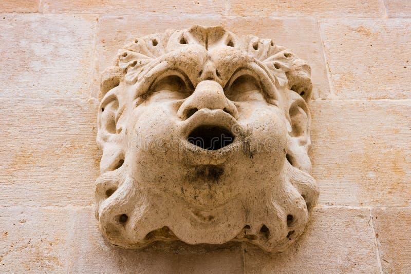 Sculptural wall decoration in Dubrovnik, Croatia stock images