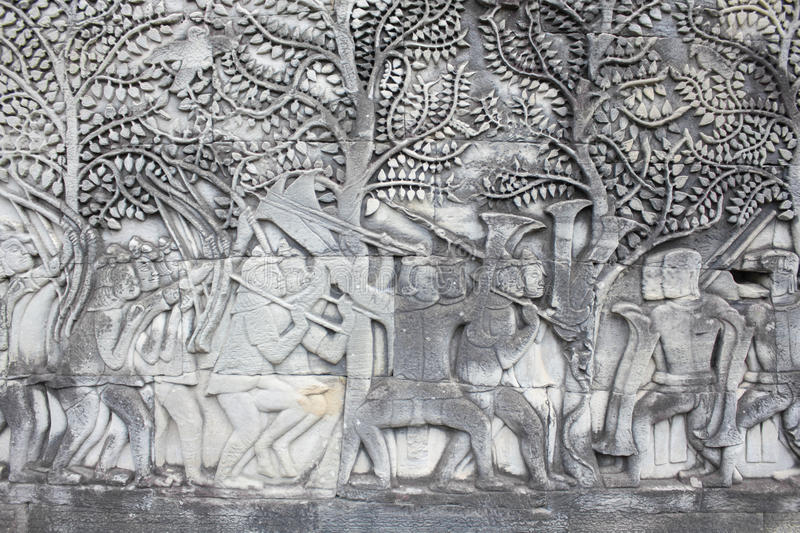 Sculptural walls of Angkor Wat. Beautiful carved relief in Angkor Wat stock images