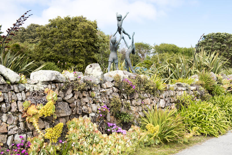 Sculpture in Abbey Garden, Scilly Islands stock photos