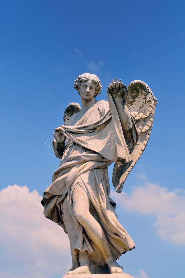 Sculpture of Angel. Ancient marble sculpture of angel on the bridge in Rome, Italy stock photo