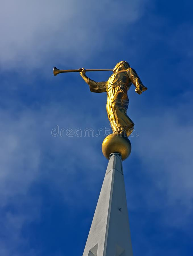 Sculpture of angel close-up. Sculpture of angel moroni atop of a Mormon Temple in San Diego stock photo